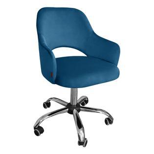 Fotel obrotowy MARCY / niebieski / noga chrom / MG33