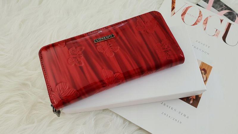 LORENTI portfel skórzany damski motyle suwak P041 czerwony zdjęcie 3