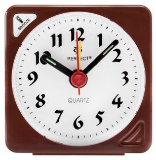 Perfect RE Mały analogowy budzik, alarm, drzemka, podświetlenie, szerokość ok. 6 cm