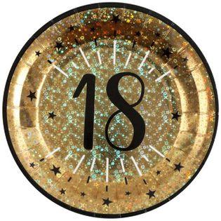 """Talerzyki papierowe """"18 urodziny - Holo Gold"""", SANTEX, 22,5 cm, 10 szt"""