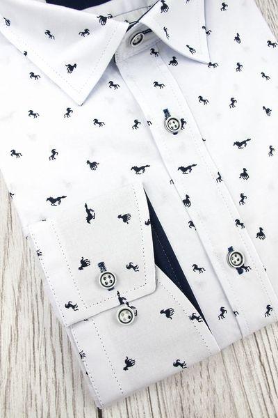 Koszula Męska Viadi Polo biała w koniki na długi rękaw w