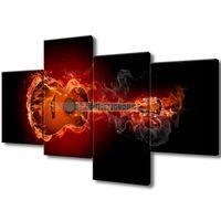 Obraz Na Ścianę 120X70 Płonąca Gitara