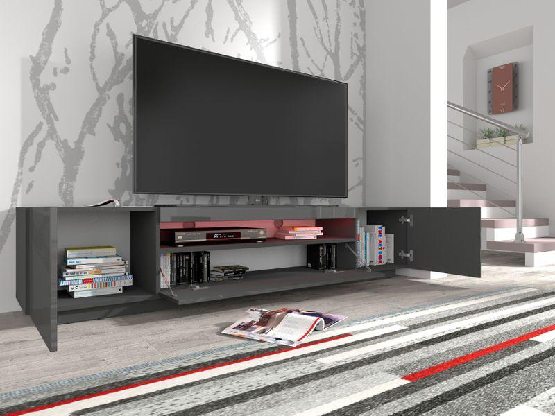 Szafka RTV 200 stojąca grafit szary wysoki połysk oświetlenie LED na Arena.pl