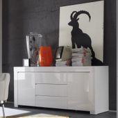 Amalfi komoda biała lakierowana szuflady wysoki połysk
