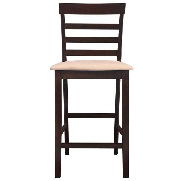 Stół Barowy I 4 Krzesła, Lite Drewno, Ciemnobrązowe zdjęcie 6