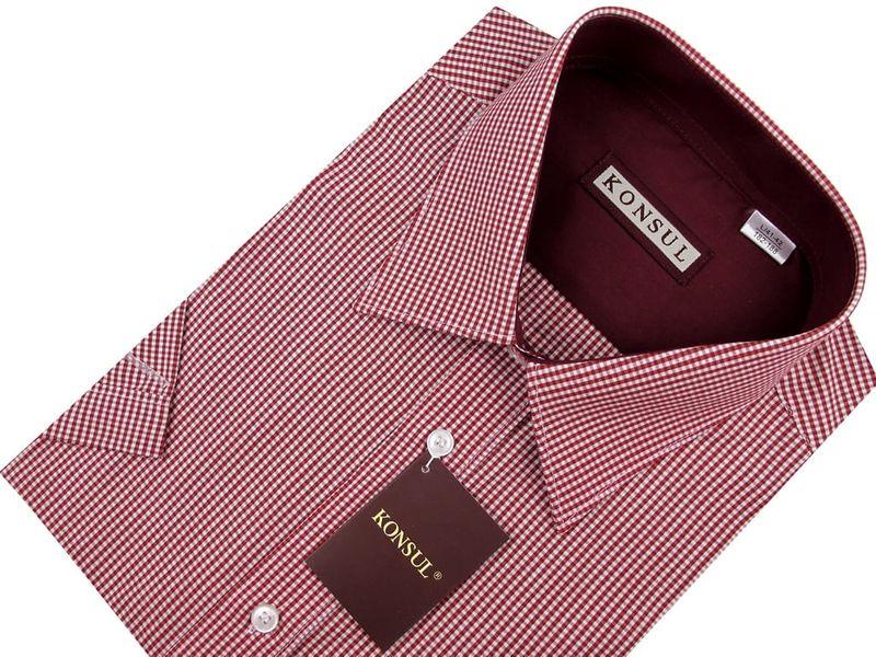 Koszula Męska Konsul czerwona w kratkę na krótki rękaw K588 L 41 176/182 zdjęcie 4