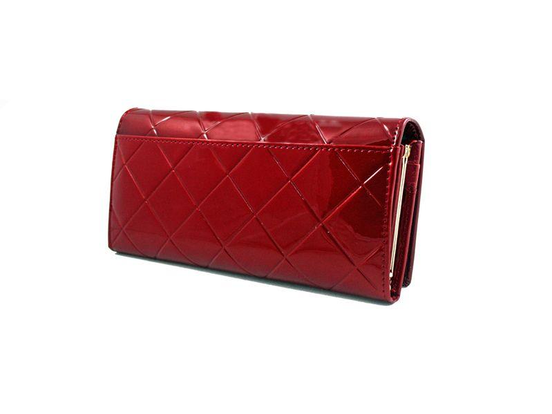 Duży czerwony portfel damski, lakierowany, pikowany, RFID, Peterson zdjęcie 2