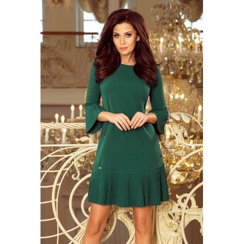 12763b9b LUCY - plisowana wygodna sukienka - ZIELEŃ BUTELKOWA XL