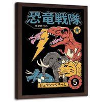 Plakat dekoracyjny w ramie brązowej, Dinozaury anime 50x70