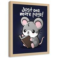 Plakat dekoracyjny w ramie naturalnej, Myszka z książką dla dzieci i młodzieży 50x70