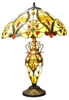 Cream / Red Bullets Double Tiffany Lamp 68Cm