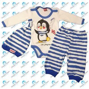 NOWY Komplet niemowlęcy body spodenki czapeczka N043 PINGWINEK 74