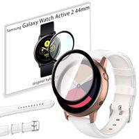 Pasek skórzany i szkło 3D do Samsung Galaxy Watch Active 2 44mm biały