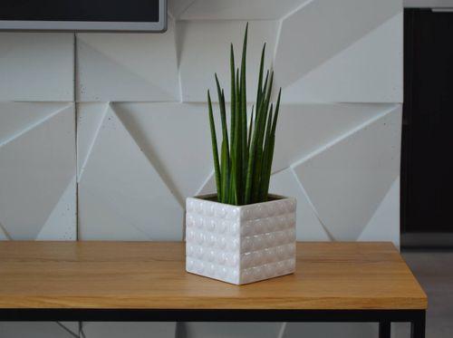 Doniczka biała osłonka 3D 18x15 ceramiczna na Arena.pl