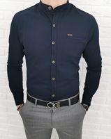 Granatowa meska koszula ze stojka 0338 slim fit - XXL