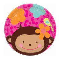 Talerzyki Monkey Love małpka 18 cm 8 szt urodziny
