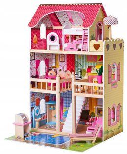Drewniany domek dla lalek z basenem +LED