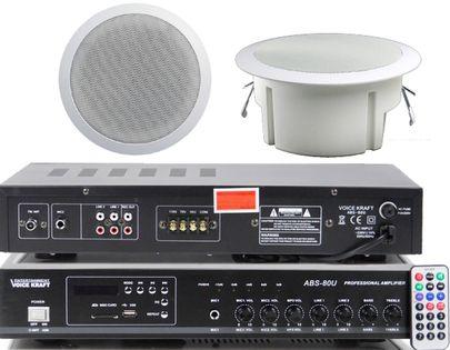 RADIOWĘZEŁ MP3 ZESTAW 8 KOLUMN WZMACNIACZ FM USB