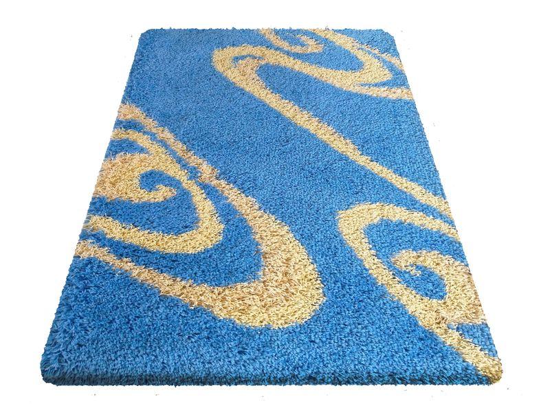 Dywan Shaggy Nowoczesny 05 Niebieski Wymiary 80 X 150 Cm Kolor Niebieski