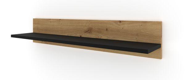 Półka wisząca NUKA G 100 cm dąb artisan czarny mat