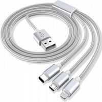 Kabel 3w1 lightning iphone micro typ-c 3a 1m USB