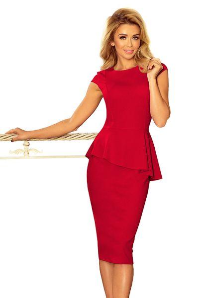 bc1d0551846112 192-5 Elegancka sukienka MIDI z baskinką - CZERWONA Rozmiar - XL zdjęcie 4