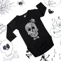 Rockowe czarne body dziecięce z długim rękawem Skull Boy Mia Rock 74