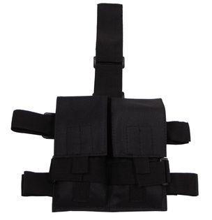 Podwójna ładownica na magazynki (mocowanie na nogę) czarna
