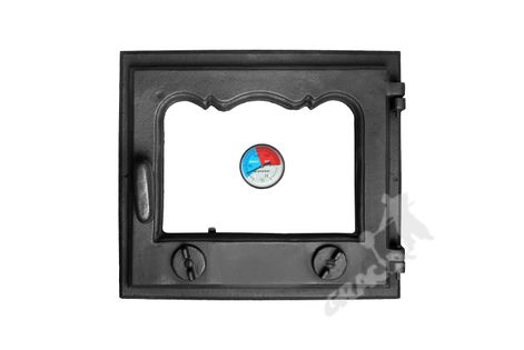 DRZWI D1 PRAWE - 33X38 CM + TERMOMETR 0-250°C żeliwne do pieca piecowe kaflowe