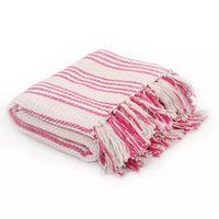 Bawełniana Narzuta W Paski, 160 X 210 Cm, Różowo-Biała