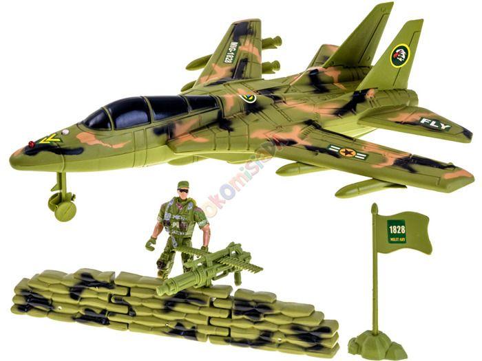 Samolot Wojskowy Myśliwiec + Figurka Flaga Efekty zdjęcie 10