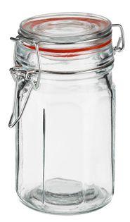 Pojemnik szklany hermetyczny słoik ośmiokątny EDO 260 ml pokrywka szklana metalowa klamra klips czerwona uszczelka