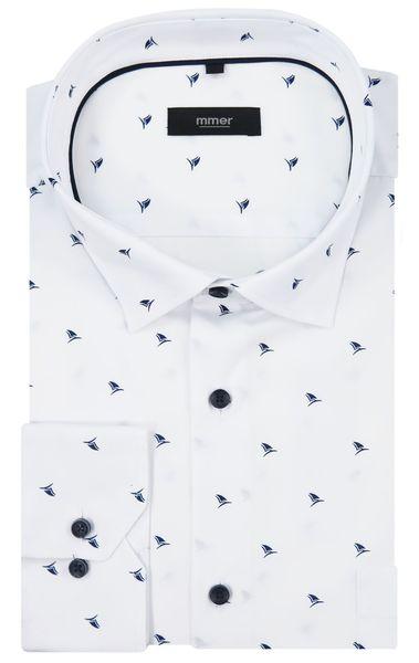 Biała koszula w granatowe żaglówki 527 Rozmiar koszuli i fason - Wybierz rozmiar zdjęcie 2
