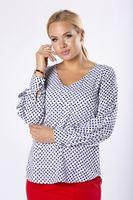 Bluzka o koszulowym kroju z dekoltem w serek i bufiastymi rękawami - Kremowy 44