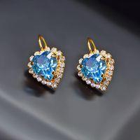 """Kolczyki """"heart Of The Ocean (Aquamarine Blue)"""" Z Kryształami Swarovski ™"""