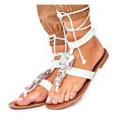 Sandały Damskie Gladiatorki Z Kryształkami r.36