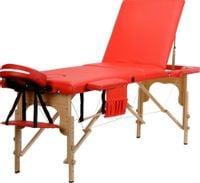Stół, łóżko do masażu 3-segmentowe drewniane Czerwony