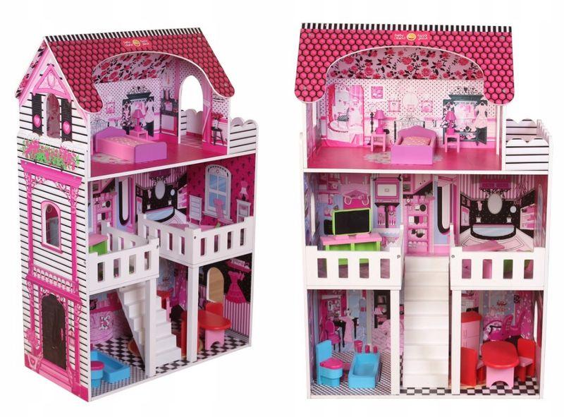 duży 3 piętrowy drewniany domek dla lalek barbie zdjęcie 3