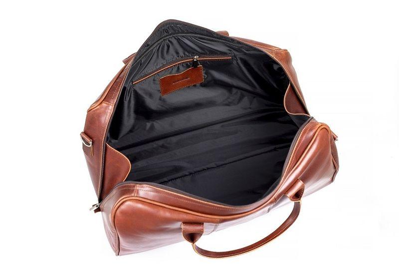 bd1c6c75814db Podróżna torba na ramię ze skóry Brodrene koniak smooth leather zdjęcie 4
