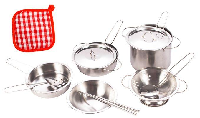 Garnki metalowe dla dzieci akcesoria kuchenne zestaw 14 elementów U30 zdjęcie 9