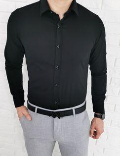 Czarna taliowana koszula meska imaginazzi z kolnierzem 1507 - L
