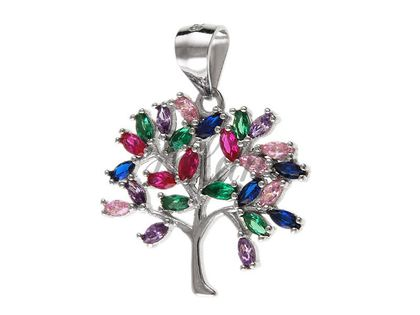 Elegancki rodowany srebrny wisiorek drzewo życia tree of life cyrkonie srebro 925 W0307