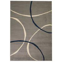 Nowoczesny dywan, wzór w koła, 140x200 cm, szary