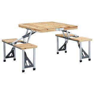 Lumarko Składany stolik turystyczny z 4 siedziskami, stal, aluminium!