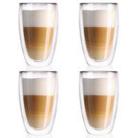 4x Szklanka termiczna z podwójną ścianką do KAWY latte 0,45
