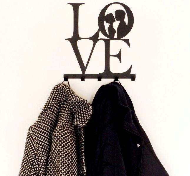 Metalowy wieszak ścienny na ubrania klucze - LOVE zdjęcie 2