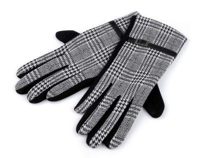 Rękawiczki damskie z dzianiny krata jasna roz. M