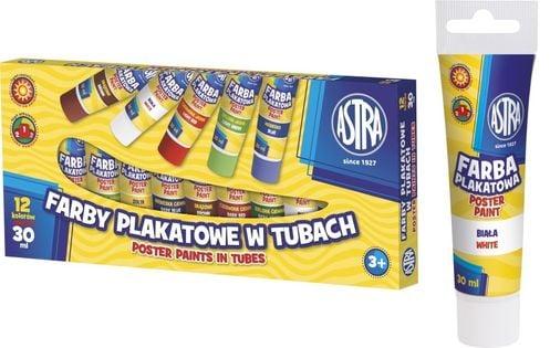 Farby plakatowe ASTRA w tubach 12 kolorów 30 ml