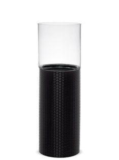 Wysoki Lampion Walec czarny 39x13x13 cm