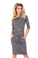Dzianinowa sukienka ze ściągaczem w pasie i kieszeniami - Szary M